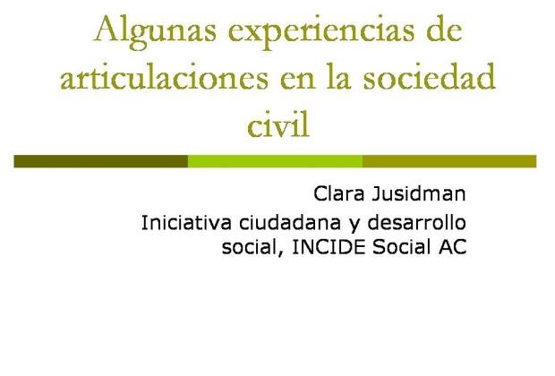 Algunas experiencias de articulaciones en la sociedad civil diapositiva