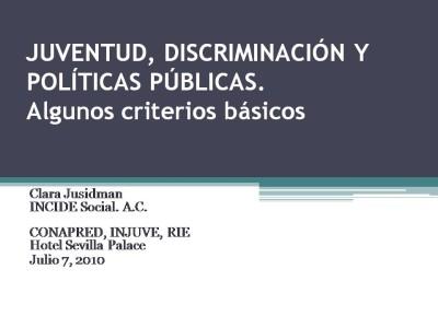 JUVENTUD, DISCRIMINACIÓN Y POLÍTICAS PÚBLICAS
