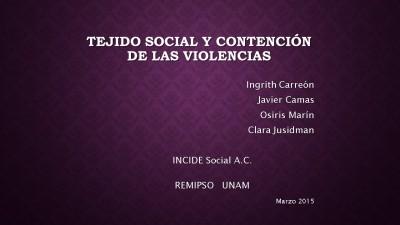 Caratula TEJIDO SOCIAL Y CONTENCIÓN DE LAS VIOLENCIAS